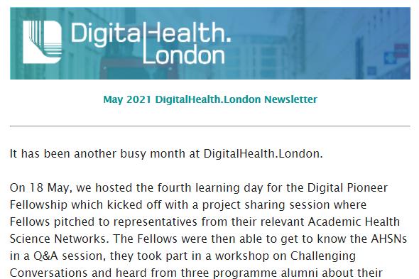 DigitalHealth.London May newsletter